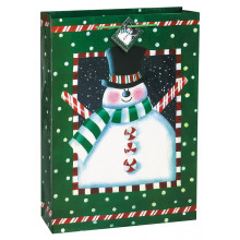 Frosty Christmas gift bag -Snowman blue