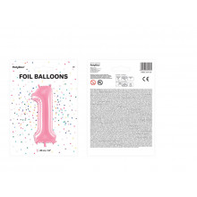Foil Balloon - Pink number 1