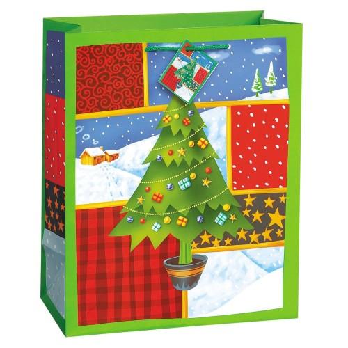 O Christmas Tree gift bag -green