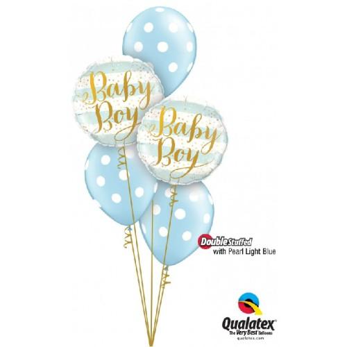 Baby Boy Blue Stripes - foil balloon