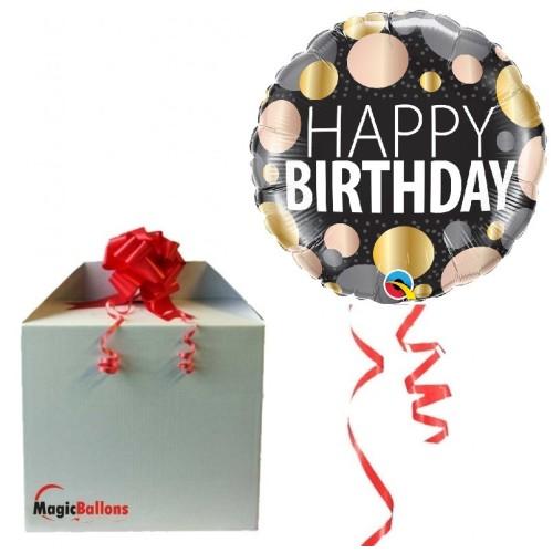 Happy Birthday metallic dots - folija balon