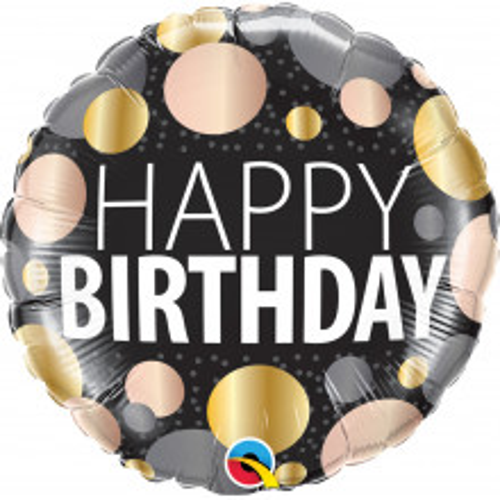 Happy Birthday metallic dots - foil balloon