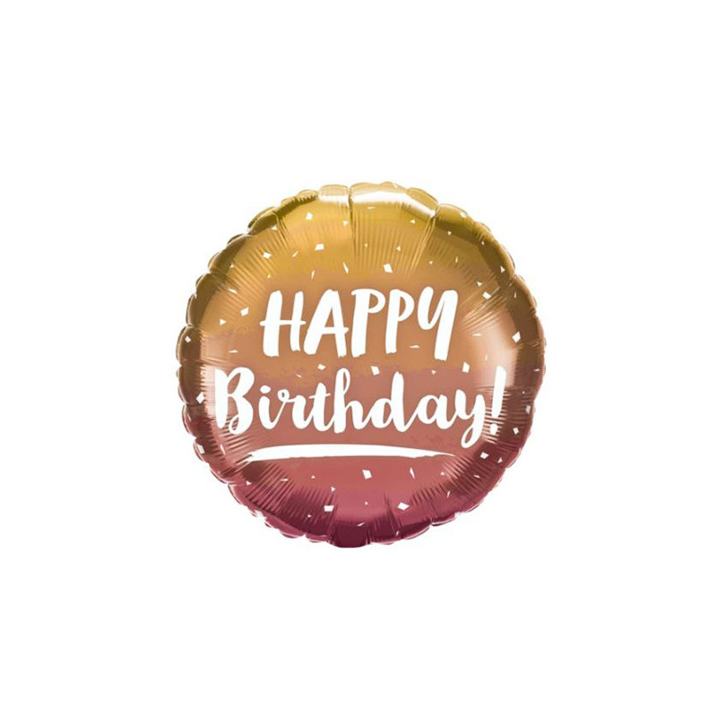 Happy Birthday gold&rose gold ombre - foil balloon