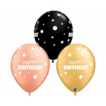 Lateks baloni 28 cm - Happy Birthday s pikami