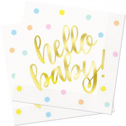 """Hello Baby"" napkins"