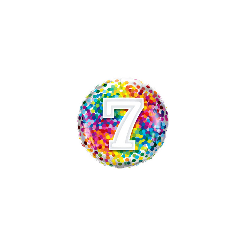 7 rainbow confetti - foil balloon