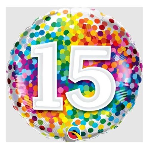 15 rainbow confetti - folija balon