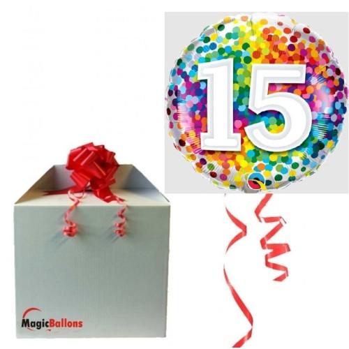 15 rainbow confetti - Folienballon