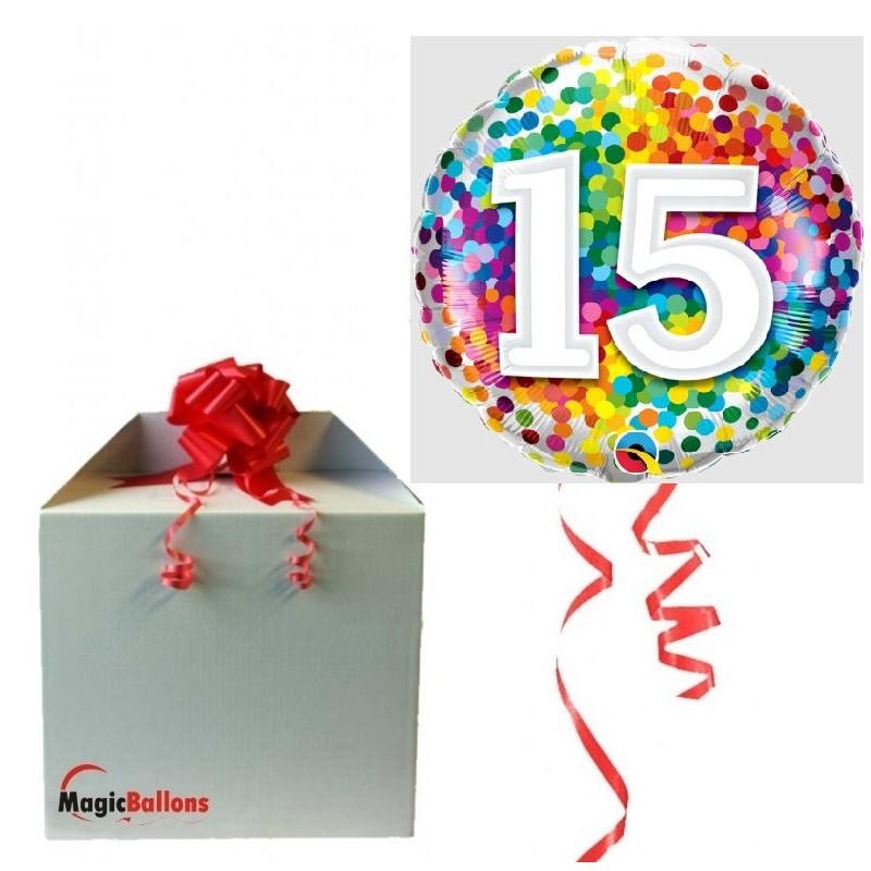 15 rainbow confetti - foil balloon