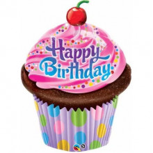 Birthday Frosted Cupcake - foil balloon