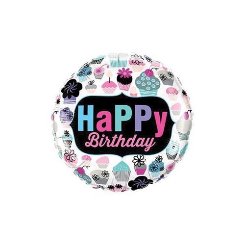 Happy Birthday Cupcakes - foil balloon