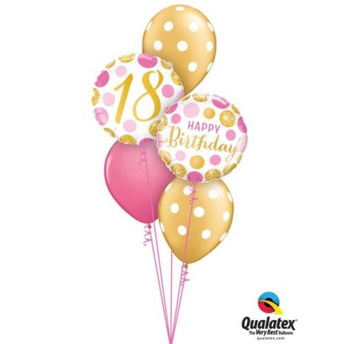 16 Pink&Gold Dots - foil balloon