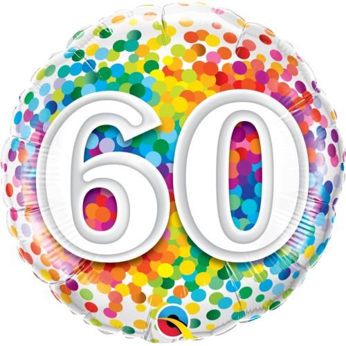 60 Rainbow Confetti - foil balloon