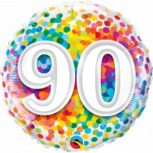 90 Rainbow Confetti - foil balloon