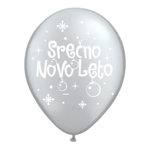Balon Serčno Novo Leto - Silver