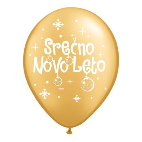 Balon Serčno Novo Leto - zlat