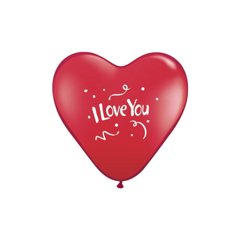 Balon I love You Confetti - rdeči srčki 38 cm