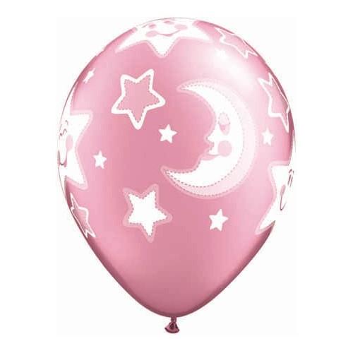 Baby moon & stars-pink