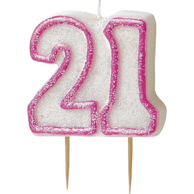 Svečka bleščice -pink 16