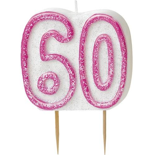 Kerze glitter pink Zahl 40