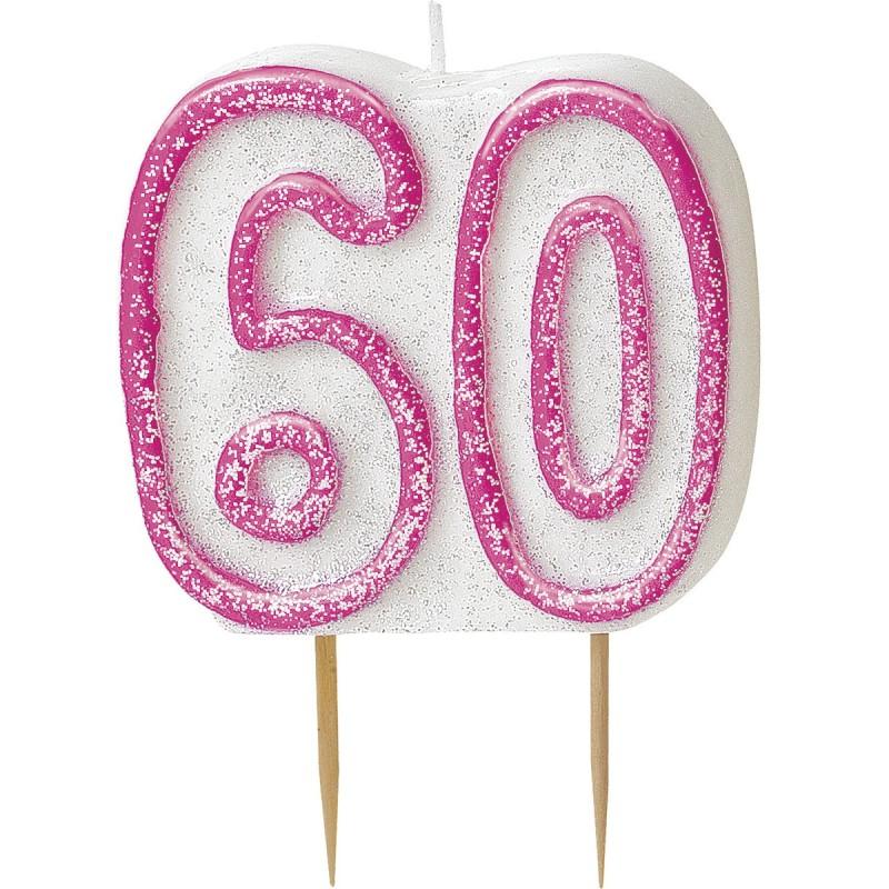 Svečka bleščice -pink 40