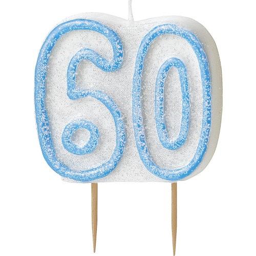 Svečka bleščice -modra 70