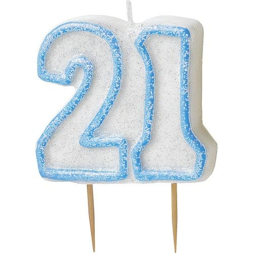 Svečka bleščice -modra 40