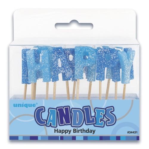 Happy Birthday candles-blue