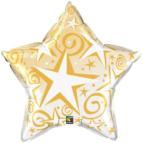Starblast Gold - folija balon