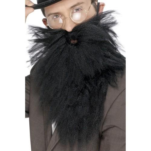 Long Beard & tash, black
