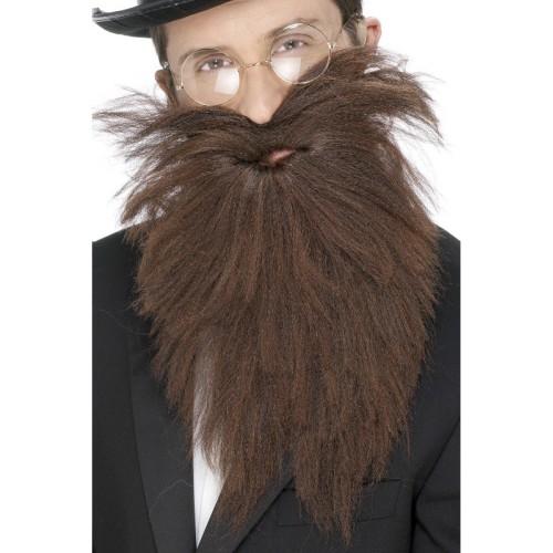 Dolga rjava brada z brki