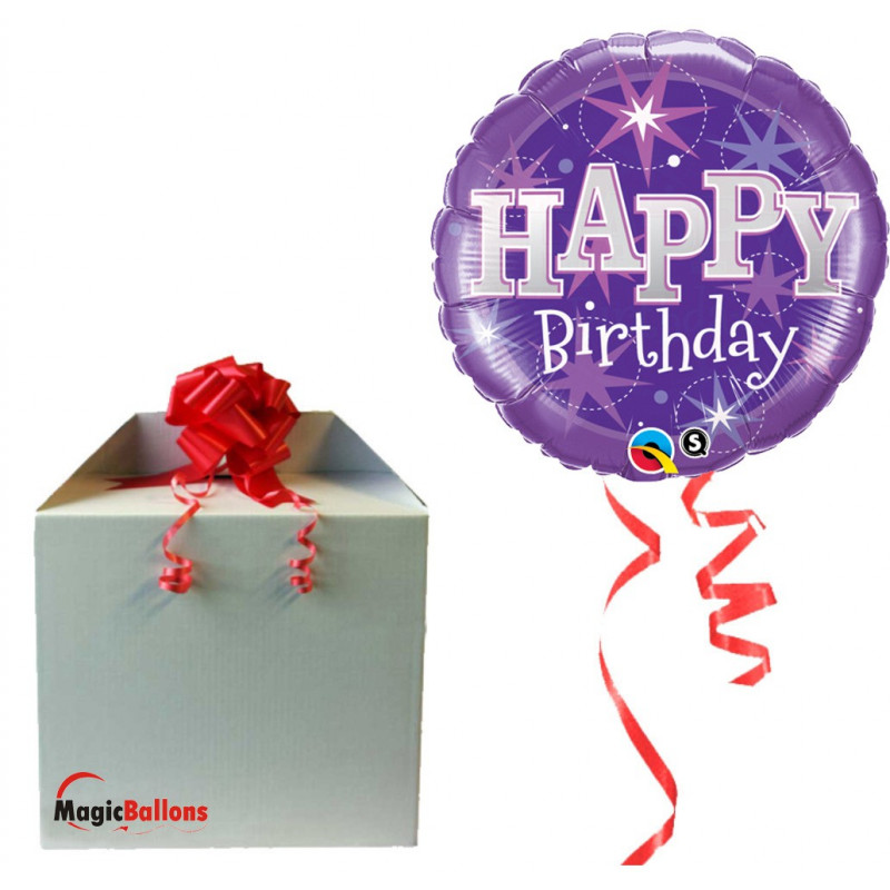 Balloon Birthday Blue Sparkle