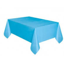 Baby blue plastic tablecover