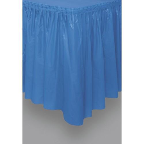 Navy blue plastic tableskirt