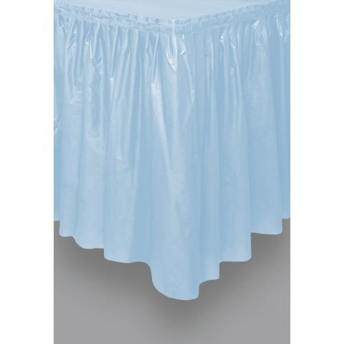 Blue plastic tableskirt