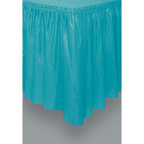 Pale blue plastic tableskirt