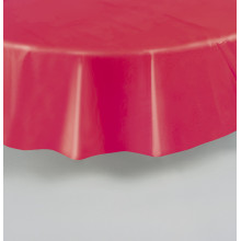 Round lavender plastic tablecover