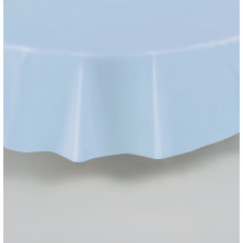 Round  blue plastic tablecover