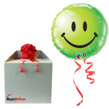 Smiley face green - folija balon v paketu
