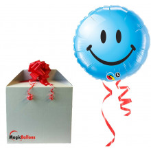Smiley face blue - folija balon v paketu