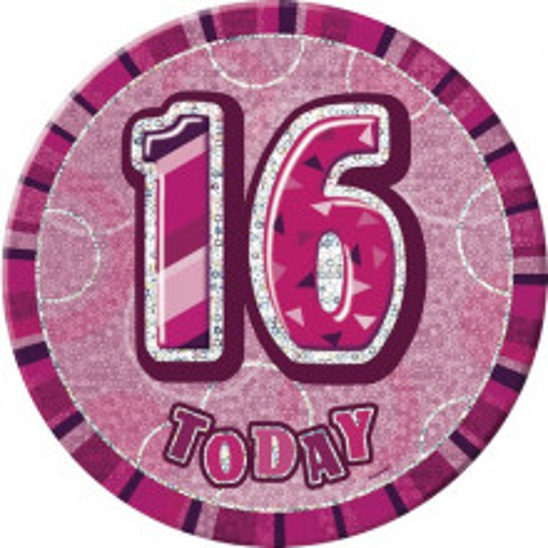 Glitz party -pink badge
