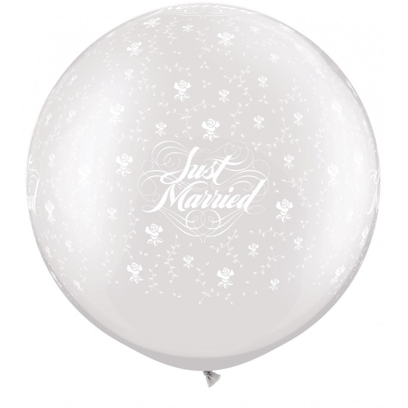 Lateks Balon Just Married Flowers 78 cm
