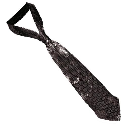 Black sequin tie