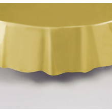 Round gold plastic tablecover