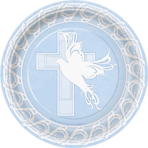 Dove Cross blue plates