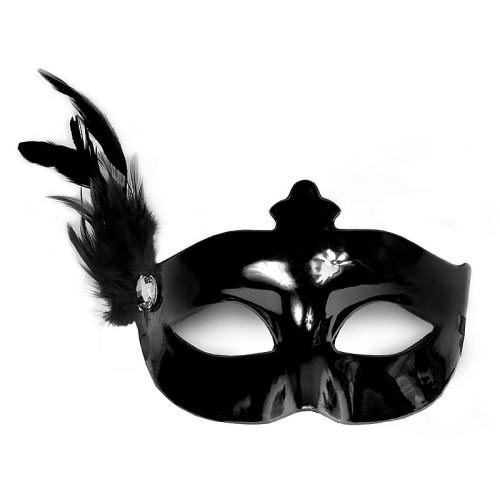 Črna maska s peresom