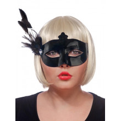 Črna maska s peres