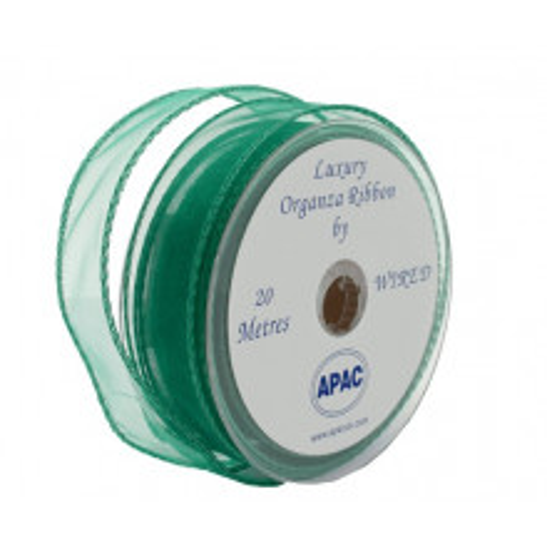 Emerald green wired organza