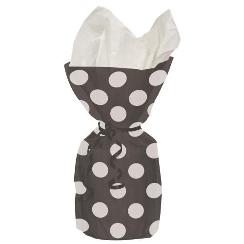 Black polka dot cellophane bags