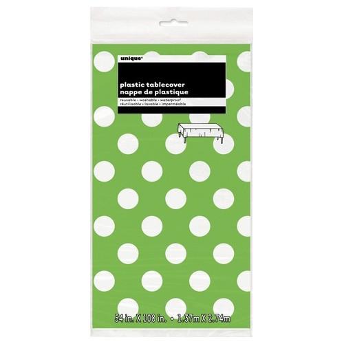 Lime green polka dot tablecover